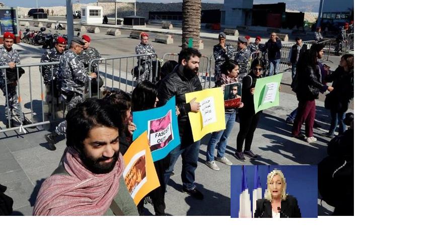 العشرات يتظاهرون في بيروت رفضا لزيارة لوبان إلى لبنان
