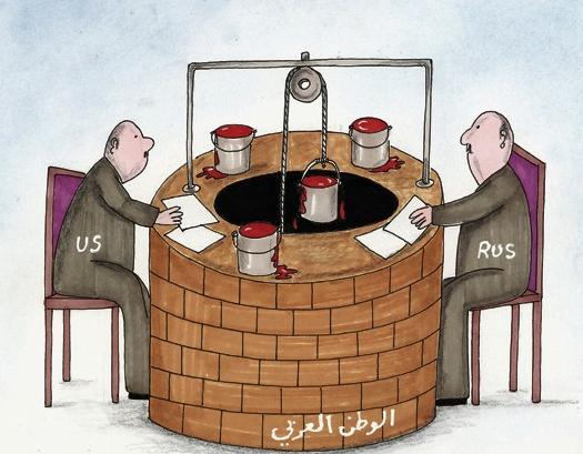 مطامع روسيا و الولايات المتحدة  في الوطن العربي الذي يشهد حالة دموية